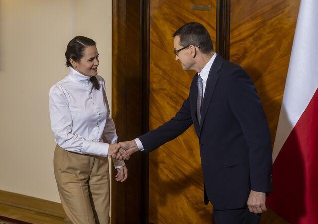 Světlana Tichanovská s polským premiérem Mateuszem Morawieckým