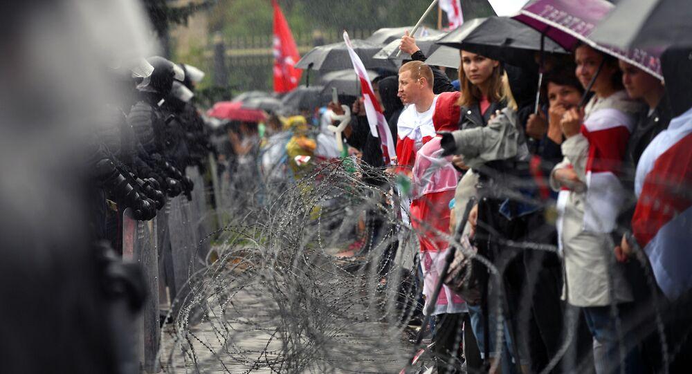 Protestní akce v Minsku proti prezidentovi Alexandru Lukašenkovi