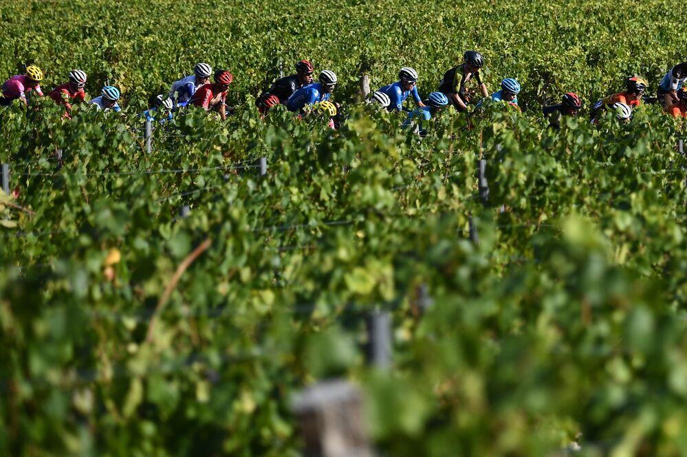 Účastníci a fanoušci cyklistického závodu Tour de France