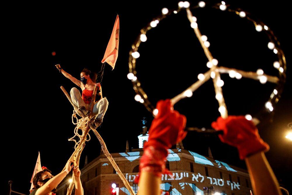 Protest proti izraelskému premiérovi Benjaminu Netanjahuovi