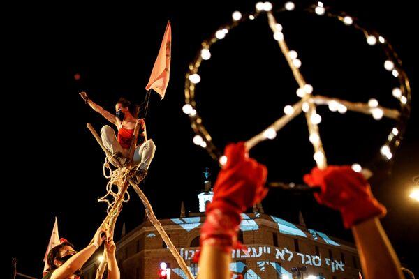 Protest proti izraelskému premiérovi Benjaminu Netanjahuovi - Sputnik Česká republika