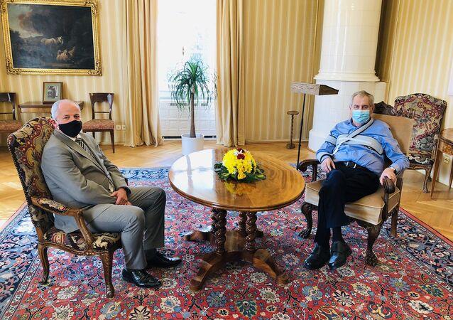 Prezident Miloš Zeman a Roman Prymula