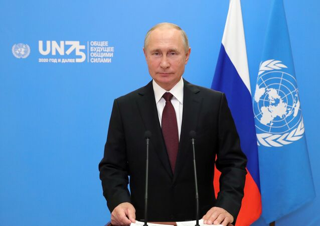 Ruský prezident Vladimir Putin během vystoupení v distanční formě na 75. zasedání Valného shromáždění OSN (22. 9. 2020)