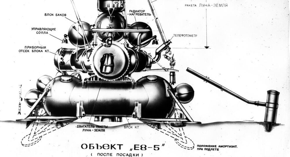 Lunární stanice E8-5 během přistání na povrch Měsíce