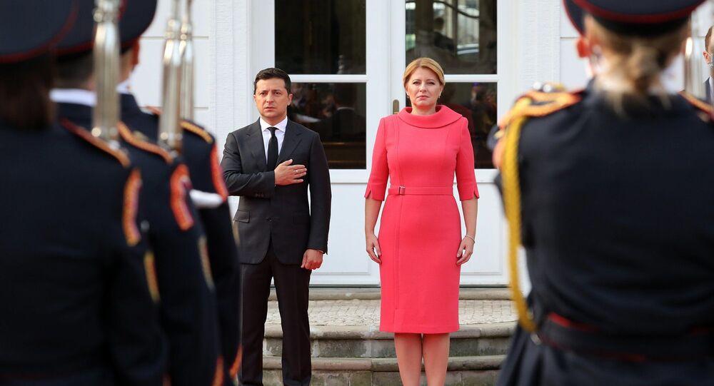 Prezidentka Slovenska Zuzana Čaputová a prezident Ukrajiny Volodymyr Zelenskyj během setkání