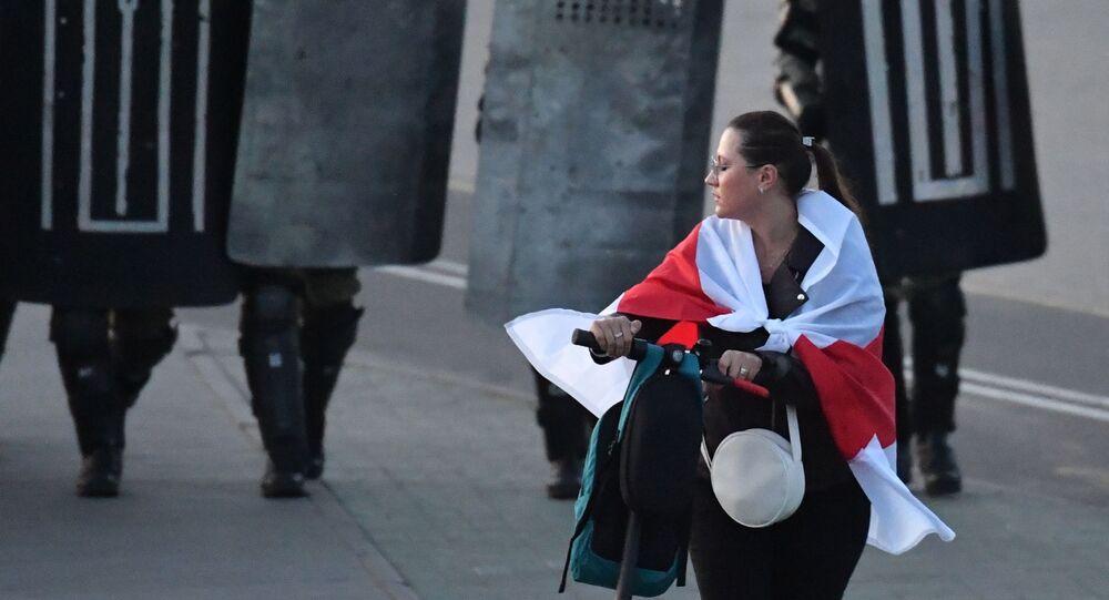Účastnice protestu v Minsku