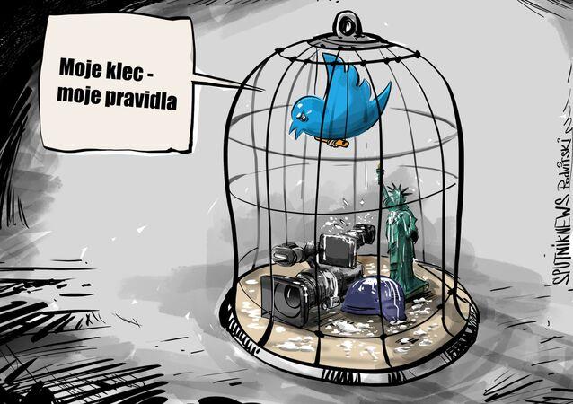 Karikatura Twitterová cenzura