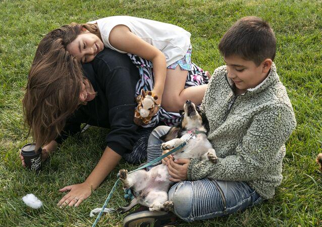 Děti si hrají se psem v centru pomoci obětem požárů