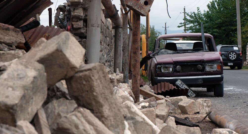 Následky ostřelování v Náhorním Karabachu (1. 10. 2020)