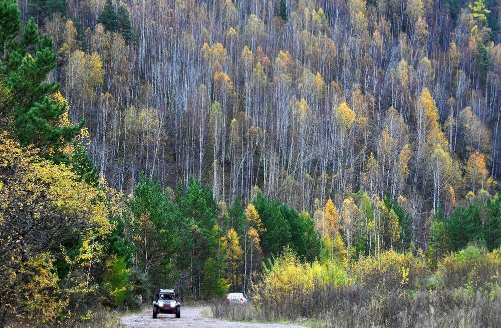Kvadrocykl jede po silnici východosibiřského pralesa nedaleko Krasnojarska