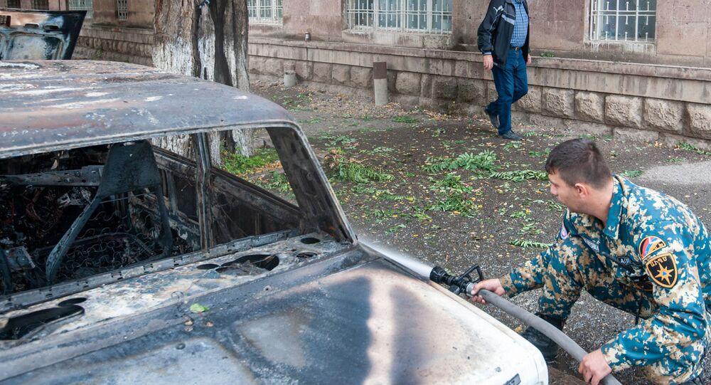 Následky ostřelování (4. října 2020). Stěpanakert