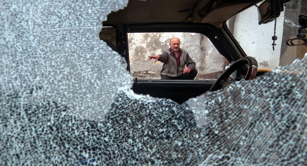 Následky ostřelování v Náhorním Karabachu