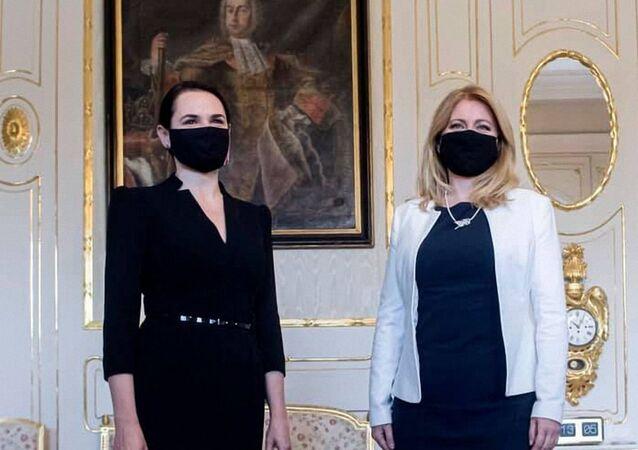 Slovenská prezidentka Zuzana Čaputová se Světlanou Tichanovskou