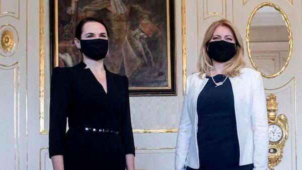 Slovenská prezidentka Zuzana Čaputová se Světlanou Tichanovskou - Sputnik Česká republika