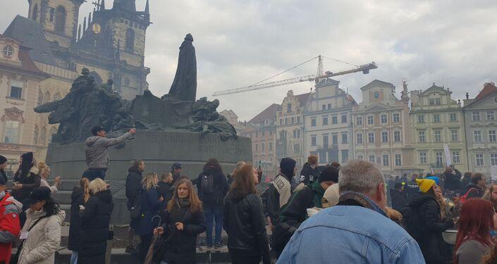 Protest odpůrců covidových opatření v Praze