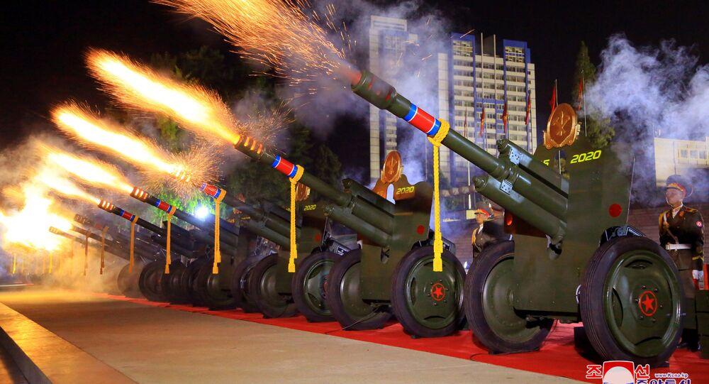 Vojenská přehlídka u příležitosti 75. výročí založení Korejské strany pracujících
