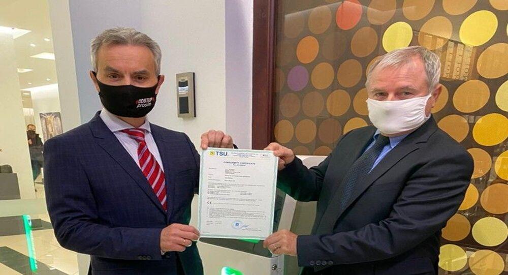 Předáním ruského dezinfektoru Bakterion slovenskému distributorovi