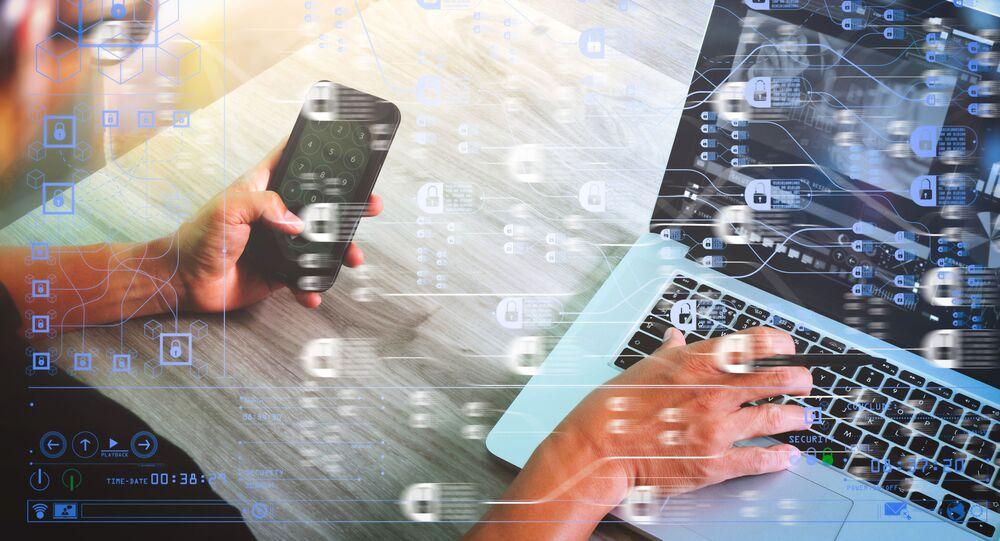 Koncept technologie blockchain s řetězovým diagramem a šifrovanými bloky