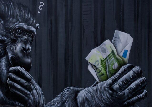 Graffiti na budově ECB