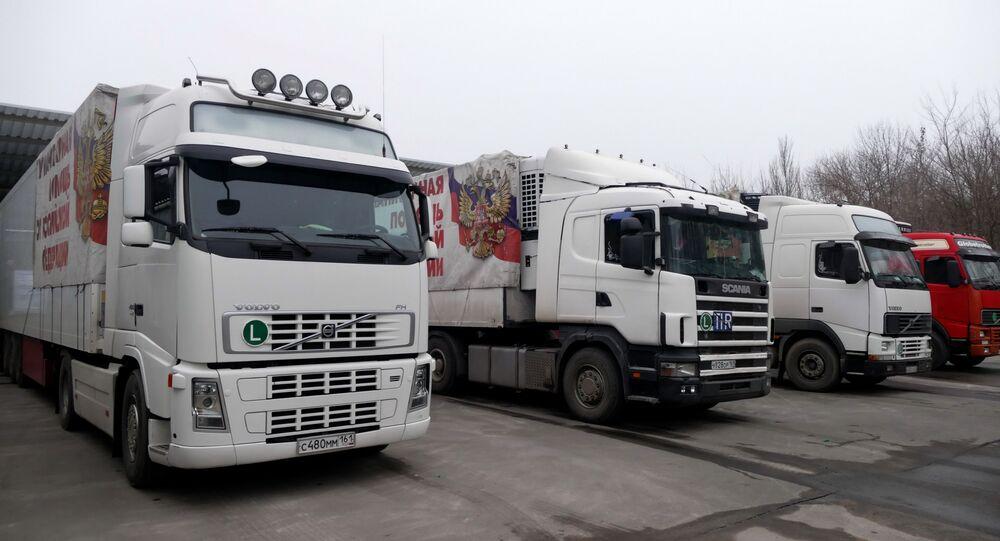 Automobily 75. konvoje MČS Ruska s humanitární pomocí pro obyvatele Donbasu