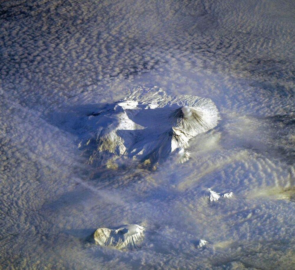 Sopky poloostrova Kamčatka z paluby ISS
