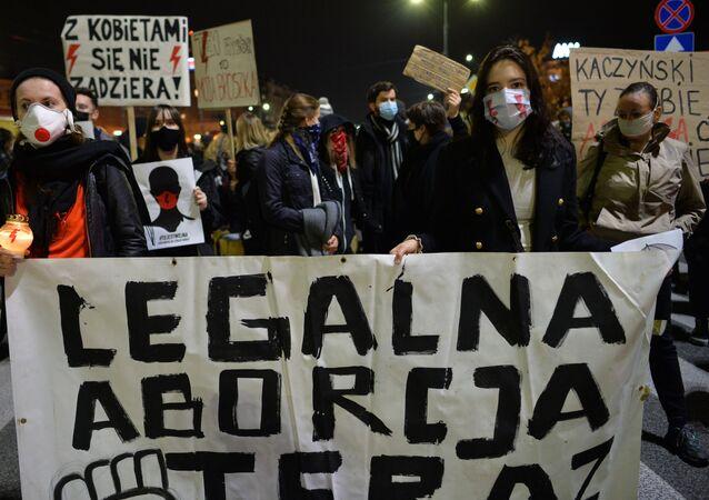 Demonstrace proti zákazu interrupce v Polsku