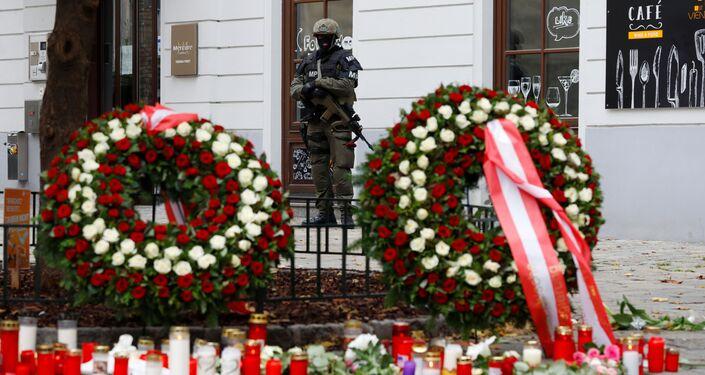Ozbrojený policista na místě střelby, Vídeň, Rakousko