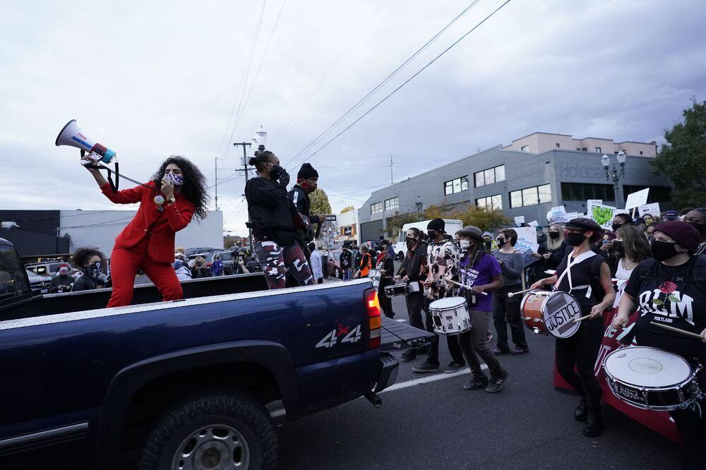 Protestní akce v Portlandu.