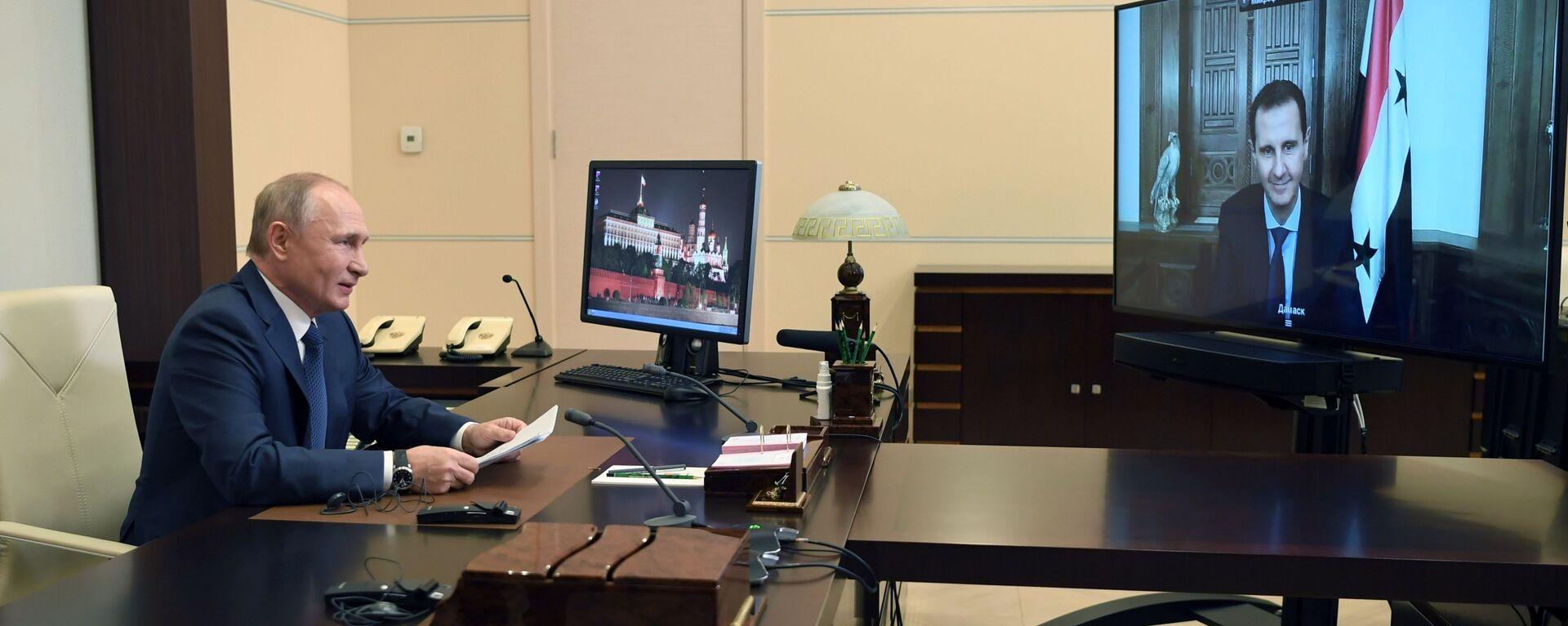 Vladimir Putin během videokonference s Bašárem Asadem  - Sputnik Česká republika, 1920, 09.11.2020