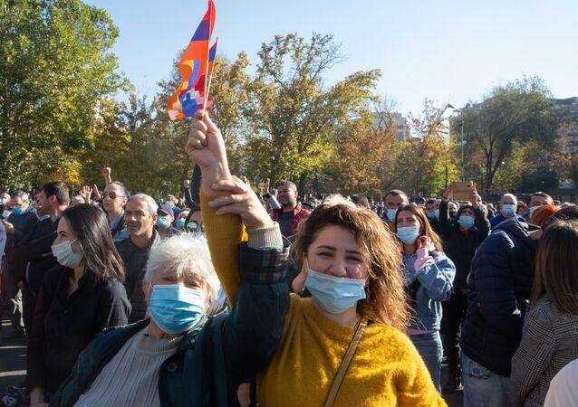 Protestní akce v Jerevanu. Ilustrační foto.