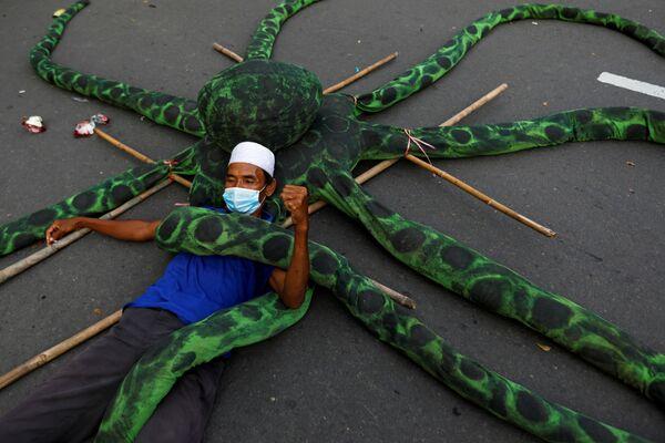 Rybář v ochranné masce leží na umělé chobotnici během protestu v Jakartě, Indonésie - Sputnik Česká republika