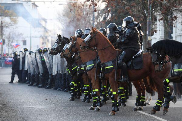 Policie na protestech v Bratislavě - Sputnik Česká republika