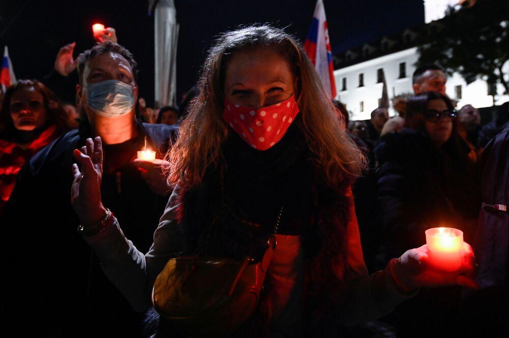 Protestující v Bratislavě