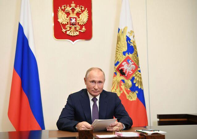 Putin se obrátil s projevem během zasedání mezinárodního vědecko-praktického fóra Ponaučení z Norimberku