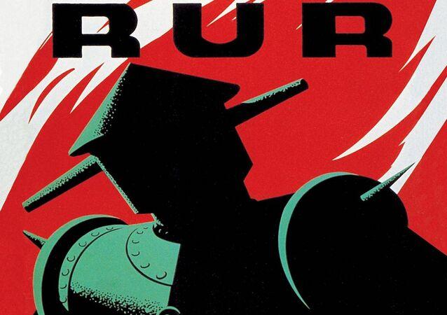 Plakát hry Karla Čapka R.U.R pro loutkové divadlo v New Yorku (1939)