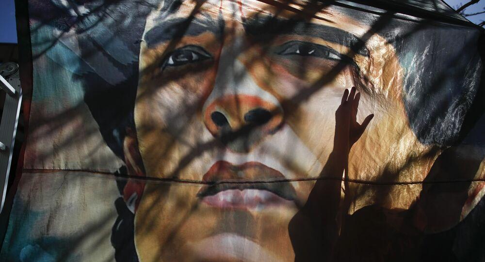 Banner s tváří Diega Maradony, Argentina.