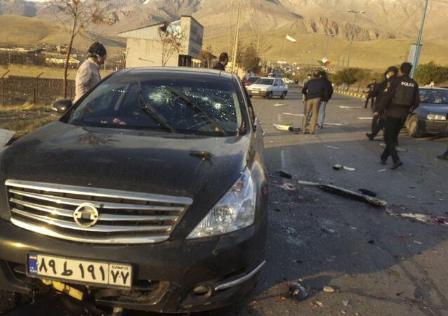 Místo atentátu šéfa Organizace pro výzkum a inovace Mohsena Fakhrízadeha