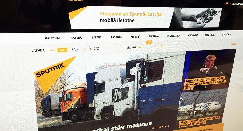 Stránka Sputniku v lotyštině