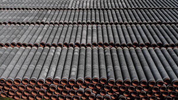 Potrubí pro stavbu plynovodu Nord Stream 2 v Německu - Sputnik Česká republika