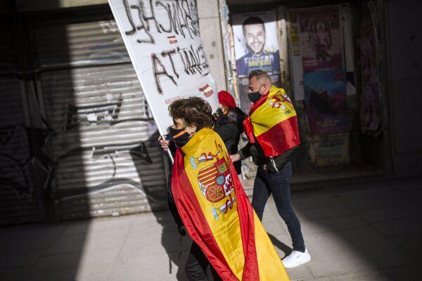 Účastníci protivládní akce v Madridu, Španělsko - Sputnik Česká republika