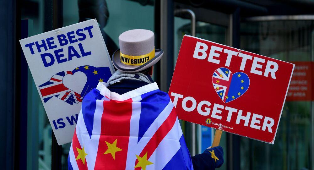 Brit demonstruje proti Brexitu