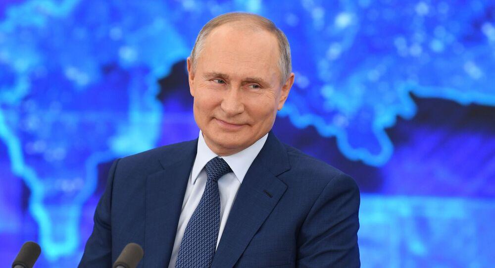 Vladimir Putin během tiskové konference 17.prosince 2020
