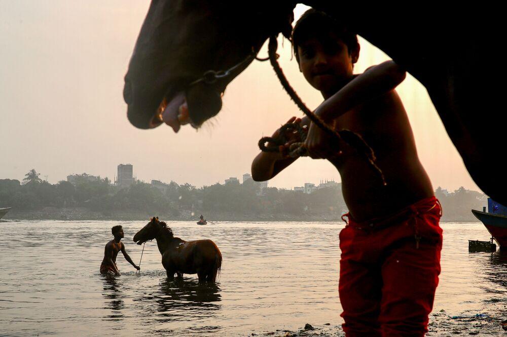 Mladí muži kupují koně v řece Buriganga v Dháce, Bangladéš