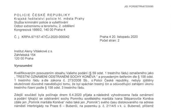 Vyrozumění Policie 1. str. - Sputnik Česká republika