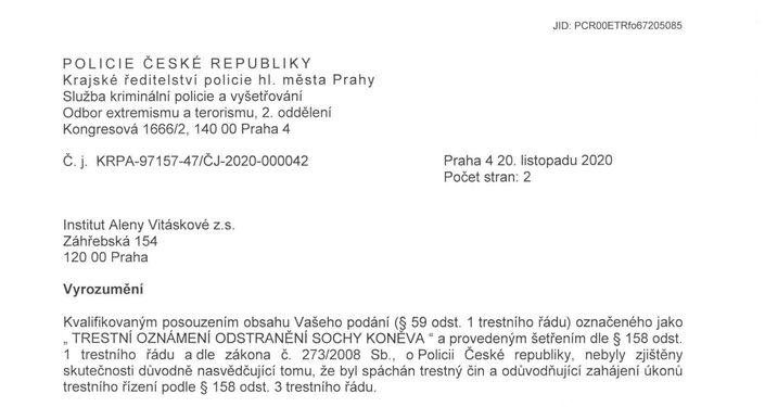 Vyrozumění Policie 1. str.