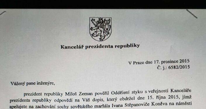 Dopis kanceláře prezidenta, že pomník Koněva je pietním místem