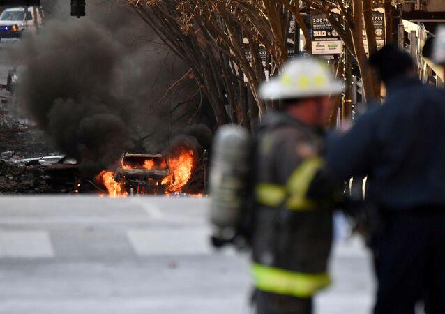 Následky výbuchu v Nashvillu