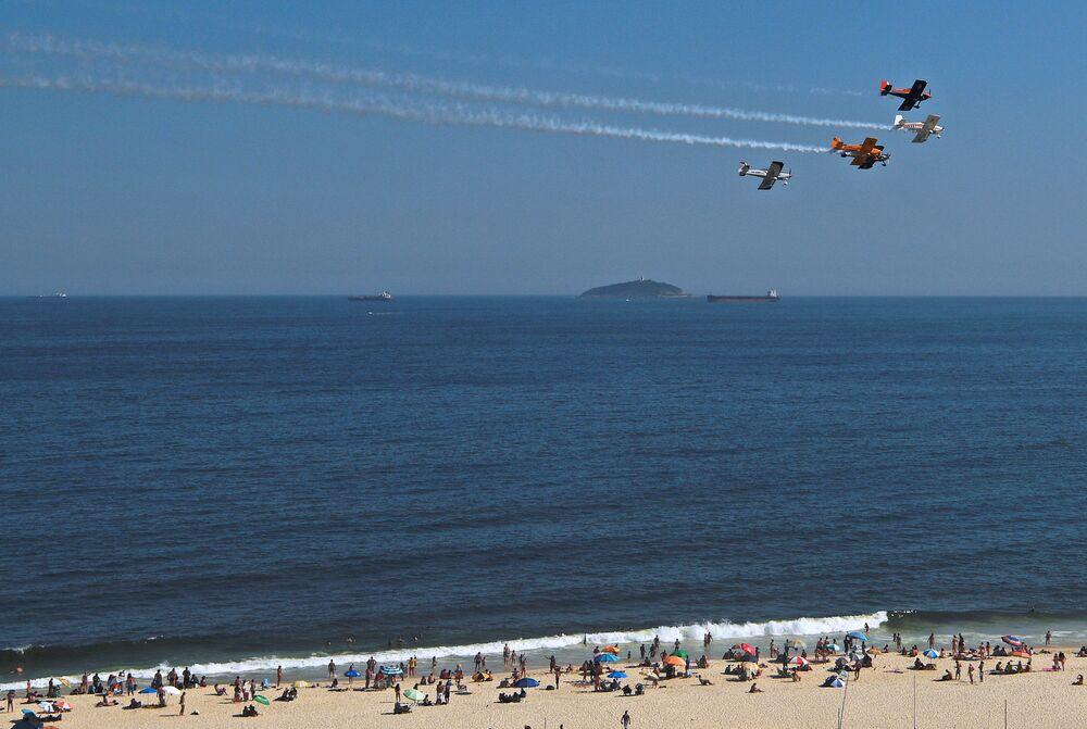 Letecká show na počest nového roku 2021 v Brazílii.