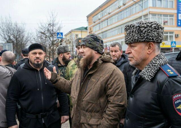 Ramzan Kadyrov na místě střelby v centru Grozného