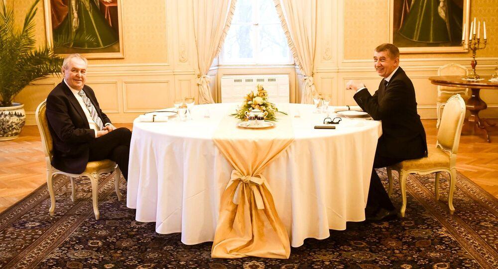 Prezident Miloš Zeman a premiér Andrej Babiš na novoročním obědě v Lánech